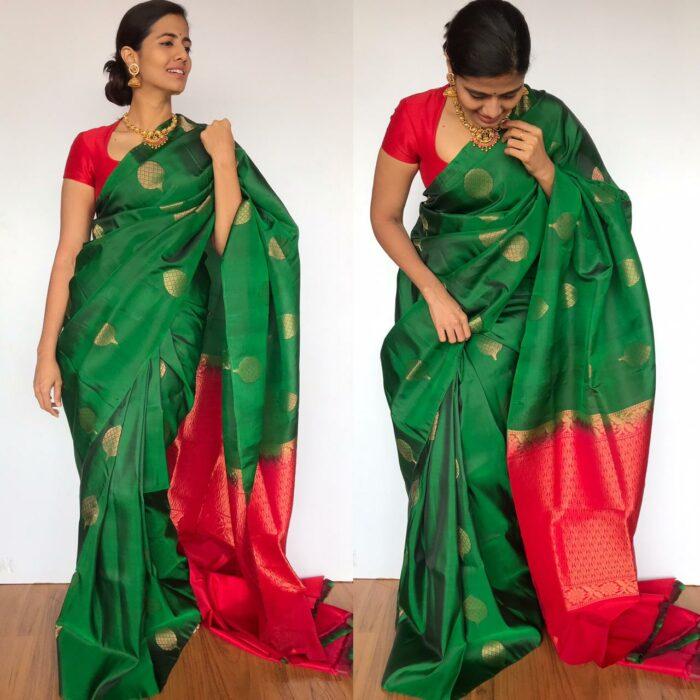 Bottle Green Kanjivaram Silk Saree with Gold Zari Motifs