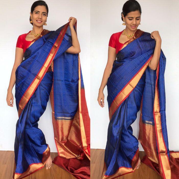 Royal Blue Kanjivaram Silk Saree with Gold Zari Checks
