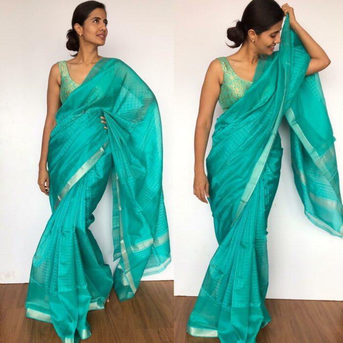Turquoise Mangalagiri Silk Saree with Silver Zari Checks