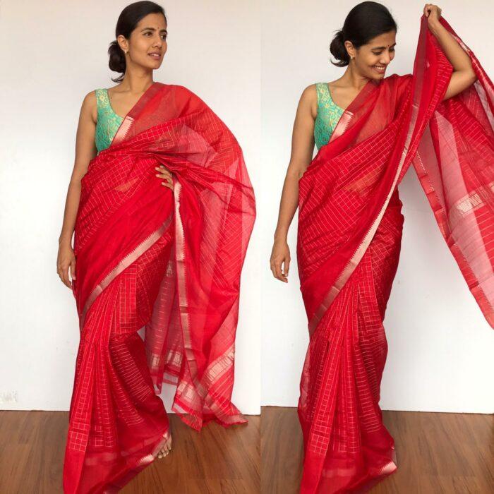 Scarlet Red Mangalagiri Silk Saree with Silver Zari Checks