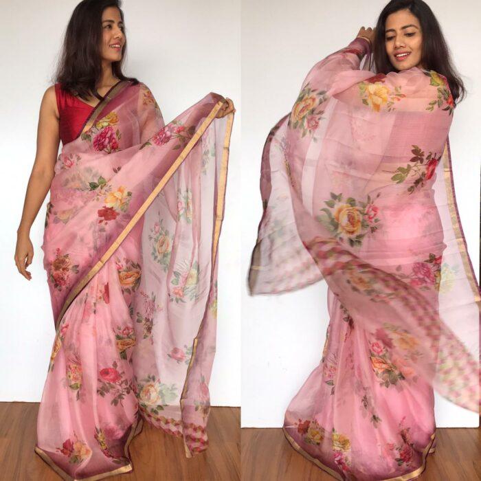 Baby Pink Kota Silk Saree with Beautiful Floral Prints