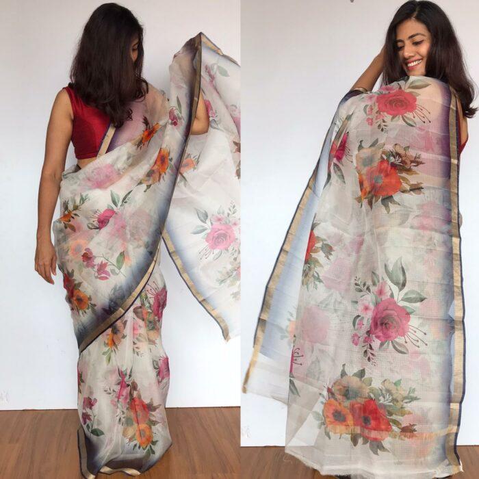 White Kota Silk Saree with Beautiful Floral Prints