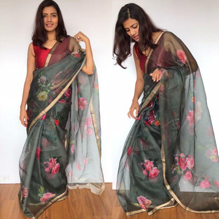 Grey Kota Silk Saree with Beautiful Floral Prints