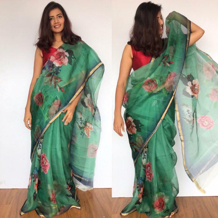 Forest Green Kota Silk Saree with Beautiful Floral Prints