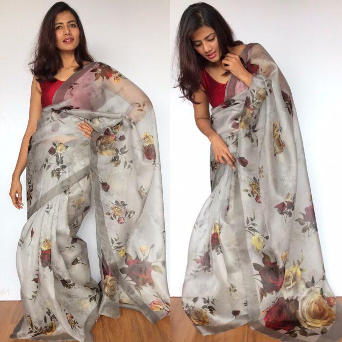 Grey Organza Saree with Printed Florals