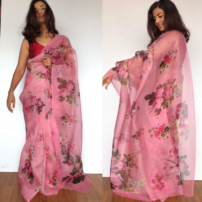 Pink Organza Saree with Printed Florals