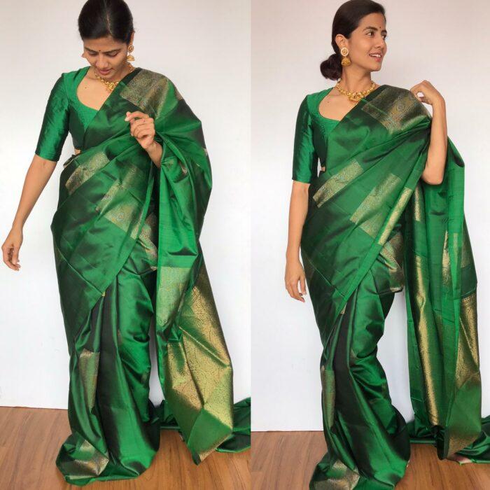 Bottle Green Kanjivaram Silk Saree with Handwoven Gold Silver Zari Weaves with Paisley Motifs