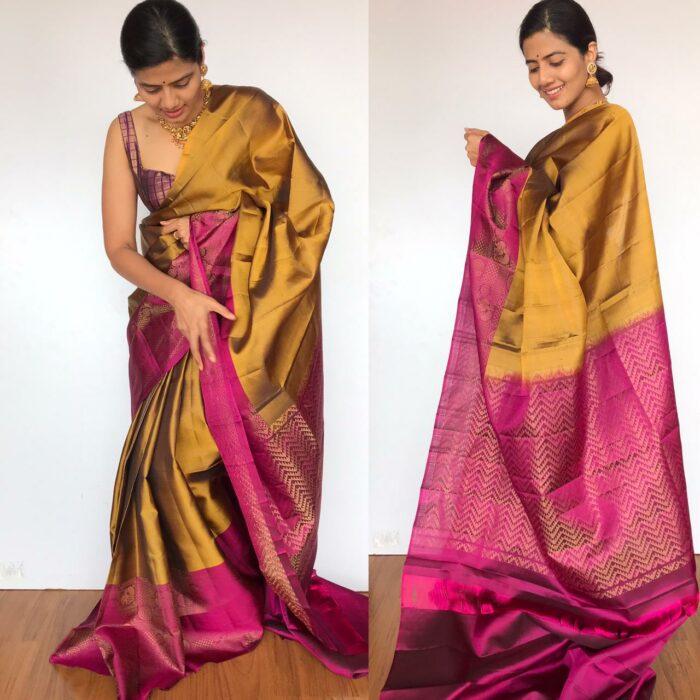 Mustard Kanjivaram Saree with Handwoven Gold Zari Weaves