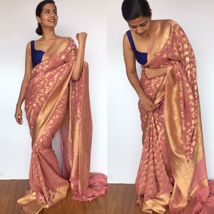 Dusty Pink Banarasi Silk Saree in Georgette adorned with Gold Zari Weaves