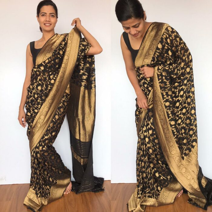 Black Banarasi Silk Saree in Georgette adorned with Gold Zari Weaves