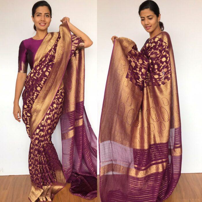 Purple Banarasi Silk Saree in Georgette adorned with Gold Zari Weaves