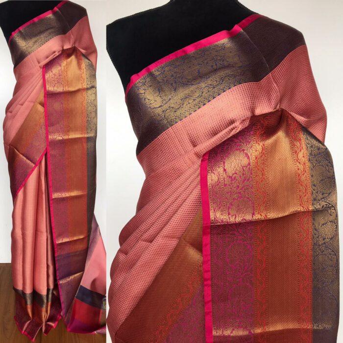 Blush Pink Kora Silk Saree with Antique Gold Zari Weaves