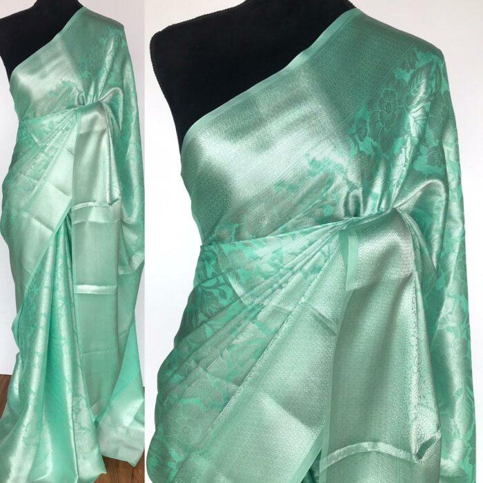 Mint Banarasi Silk Saree with Silver Zari Weaves