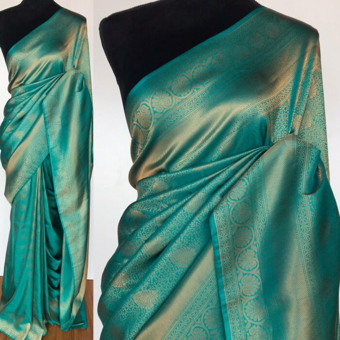 Blue Banarasi Silk Saree with Antique Gold Zari Weaves