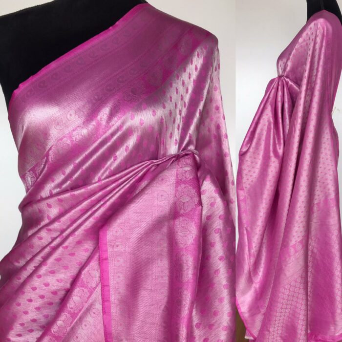 Pink Banarasi Silk Saree with Silver Zari Weaves
