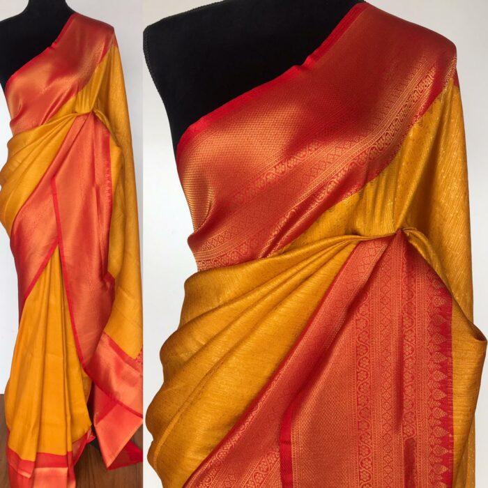 Mustard Banarasi Silk Saree with Gold Zari Weaves