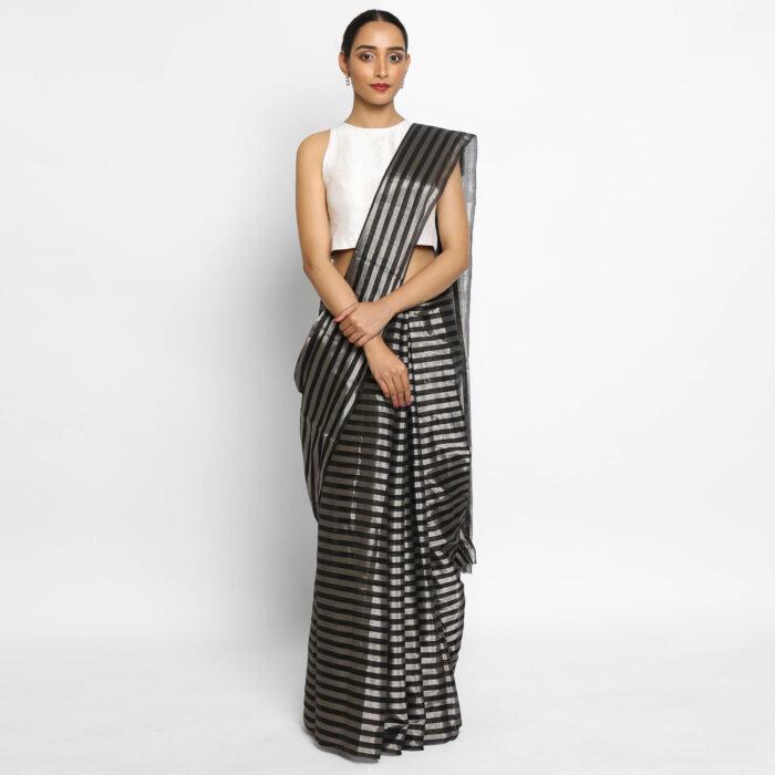 New Black Chanderi Silk Saree