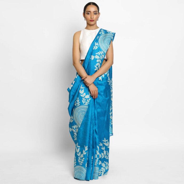 Pure Blue Handpainted Silk Saree