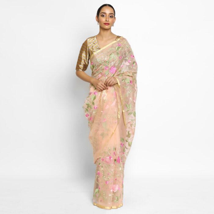 Peach Organza Silk Saree with Embroidery