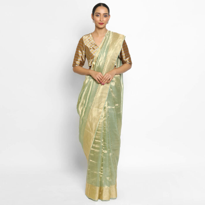 Sea Green Pure Tissue Silk Saree with Tanchui Weaves