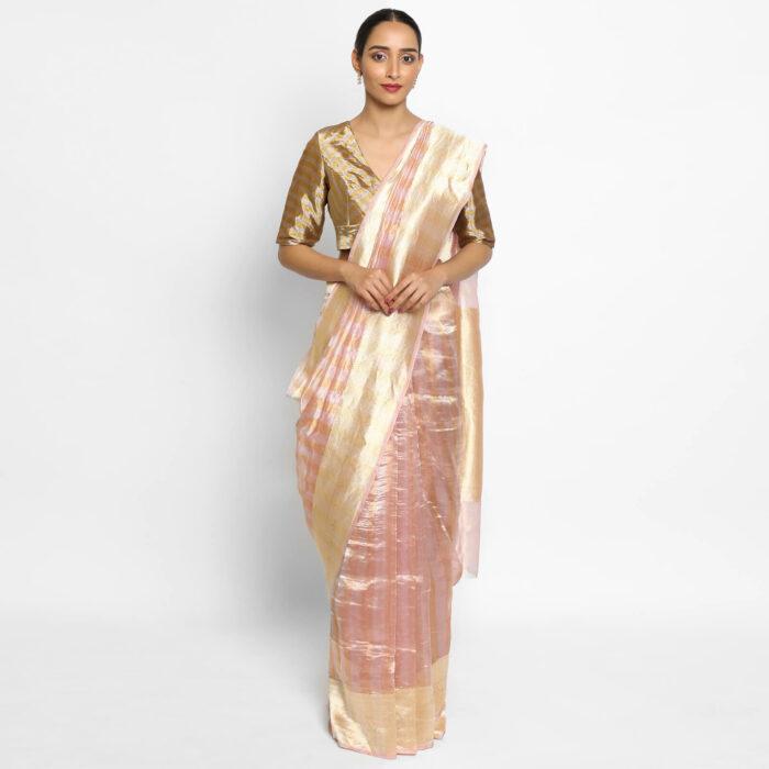 Baby Pink Pure Tissue Silk Saree with Resham Zari Weaves