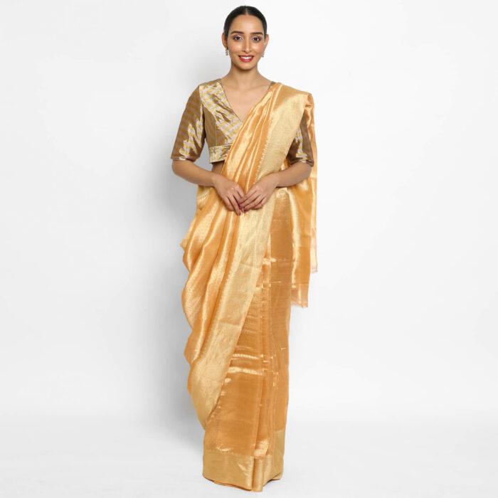 Peach Pure Tissue Silk Saree with Tanchui Weaves