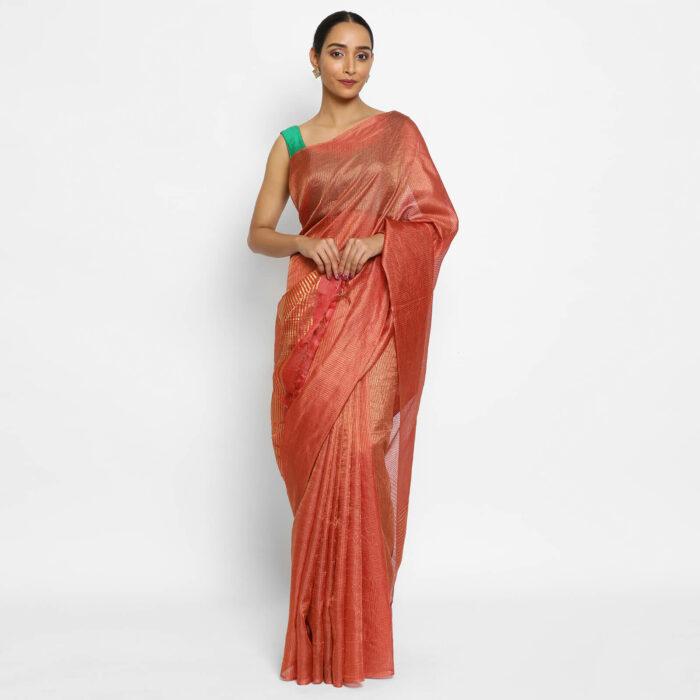 Pure Red Tussar Silk Saree