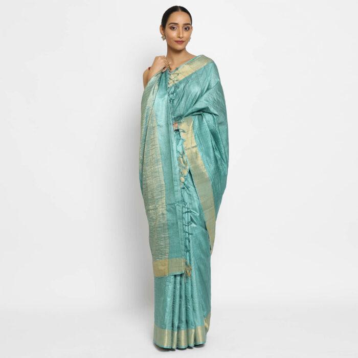 Pure Pastel Blue Tussar Silk Saree