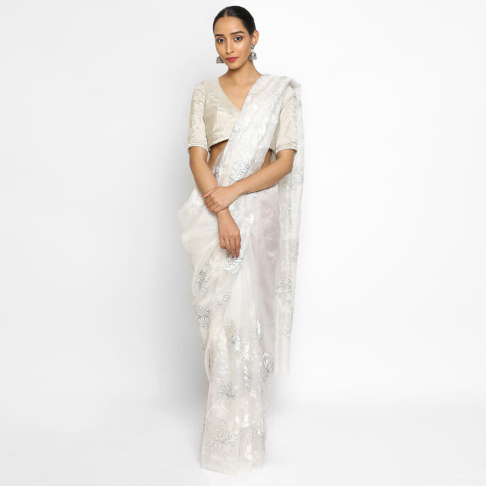 White organza saree with embroidery