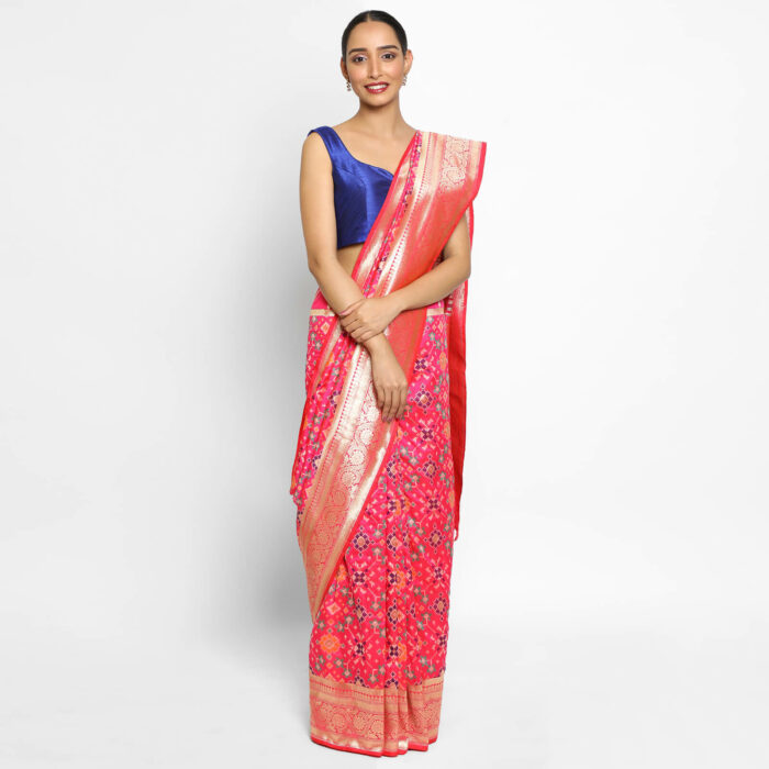 Hot Pink Banarasi Silk Saree with Pan Patola Weaves