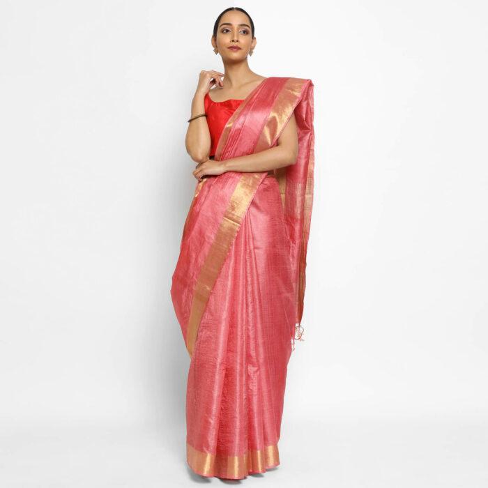 Pure Peachy Pink Tussar Silk Saree