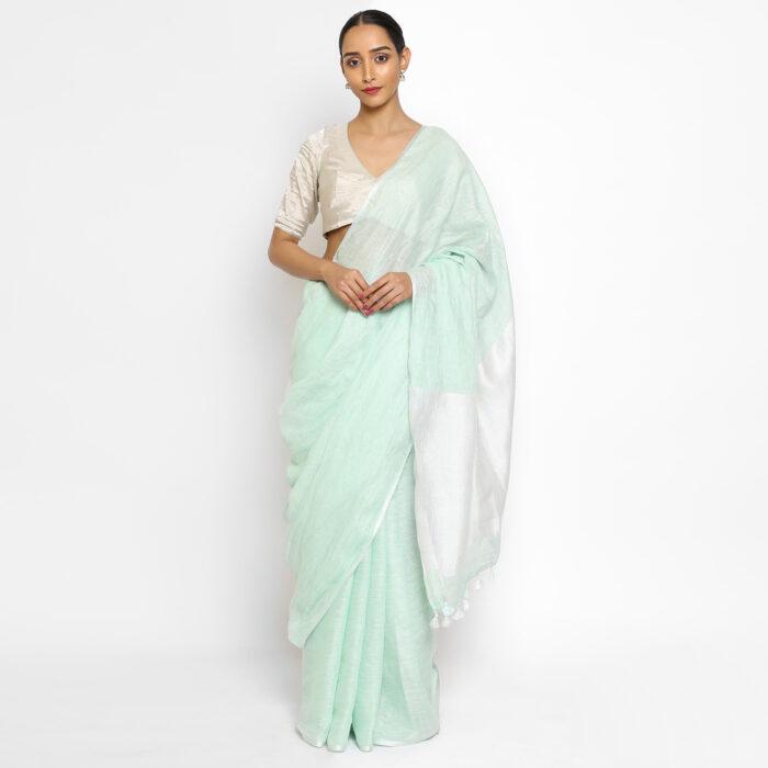 Mint Handwoven Pure Linen Saree