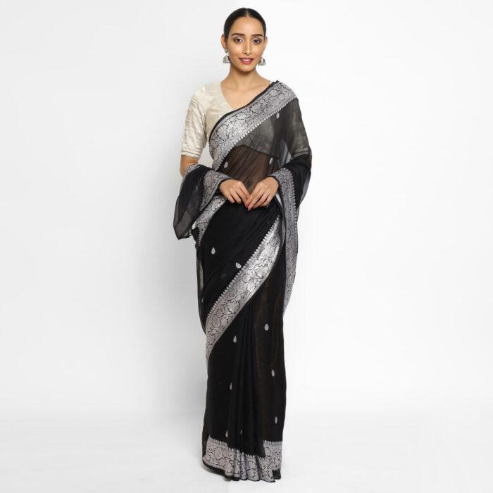 Black Banarasi Silk Saree in Pure Khaddi Chiffon
