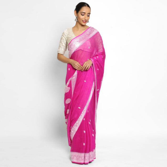 Rani Pink Banarasi Silk Saree in Pure Khaddi Chiffon