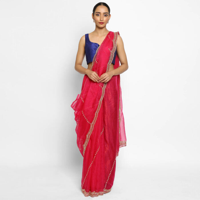 Hot Pink organza saree with Embroidery