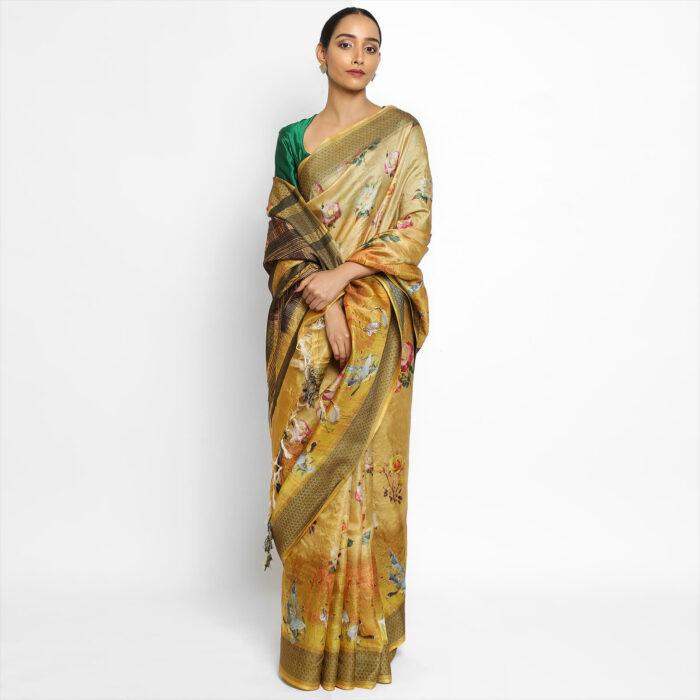 Digital Printed Pure yellow Tussar Silk Saree