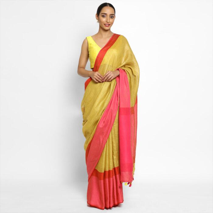 Handwoven Pure yellow Linen Saree