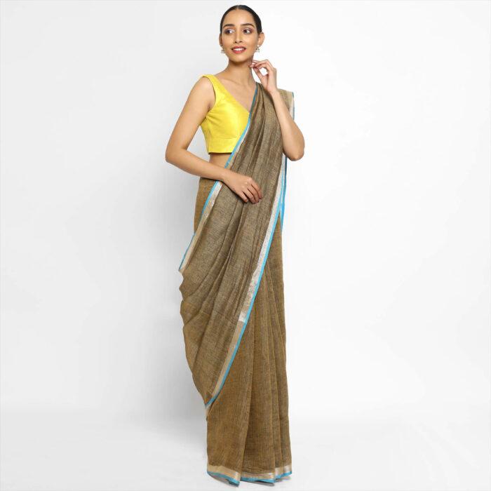 Handwoven Pure Light Brown Linen Saree