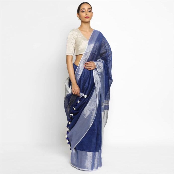 Handwoven Pure Blue Linen Saree