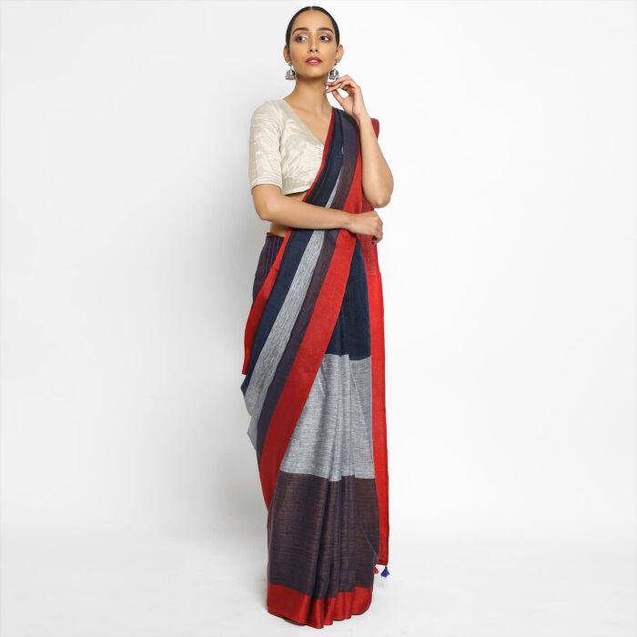 Handwoven Pure Black Linen Saree