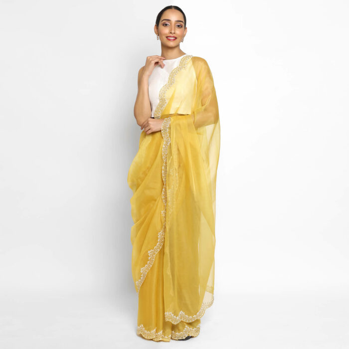 Mustard organza saree with embroidery