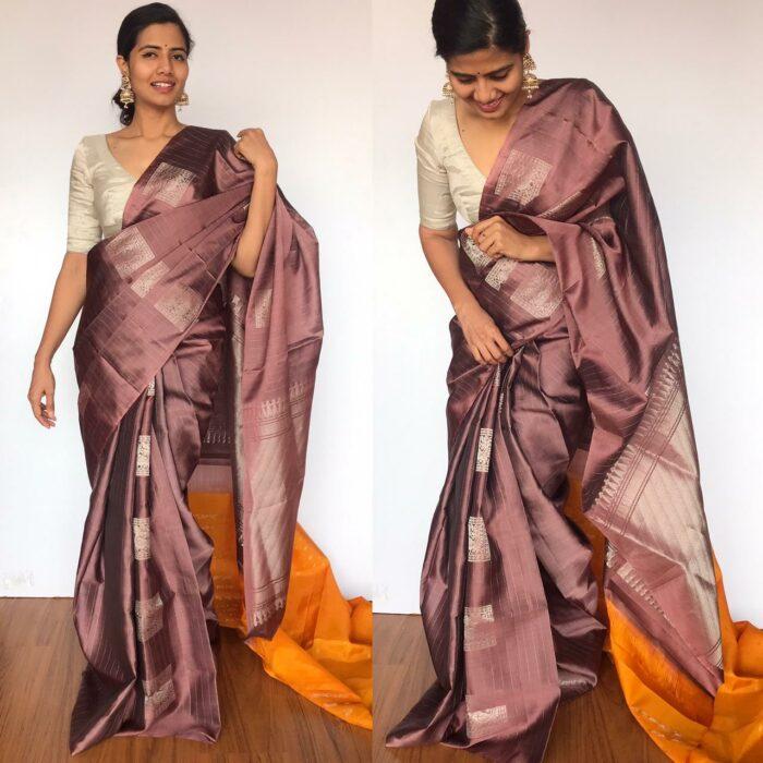 Mauve Kanjivaram Silk Saree with Handwoven Silver Zari Buttas