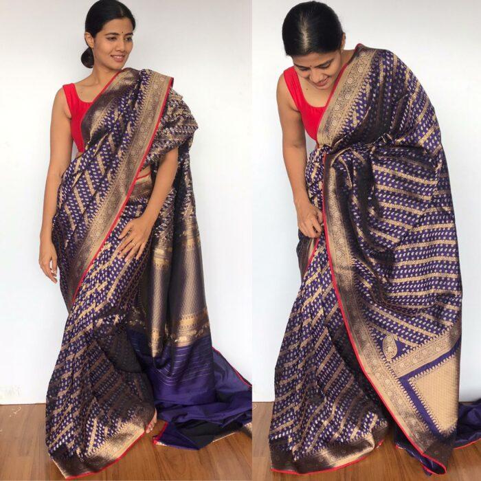 Navyblue Banarasi Silk Saree woven with Gold and Silver Zari Weaves