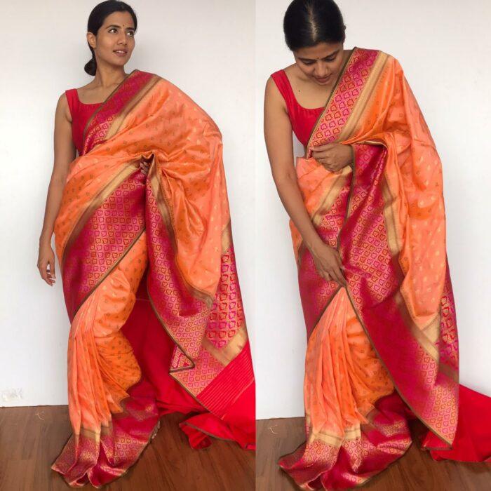 Peach Banarasi Silk Saree with Beautiful Meenakari Weaves