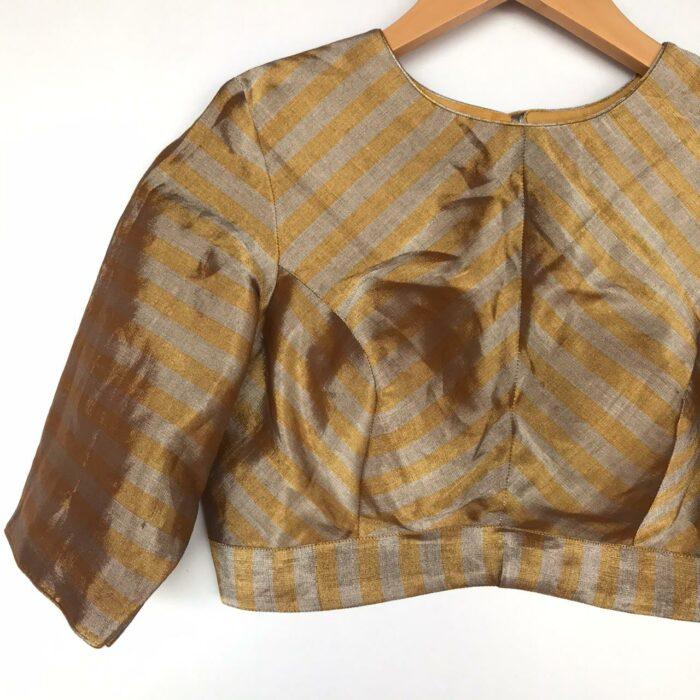 Handwoven Gold Pure Tissue Silk Blouse