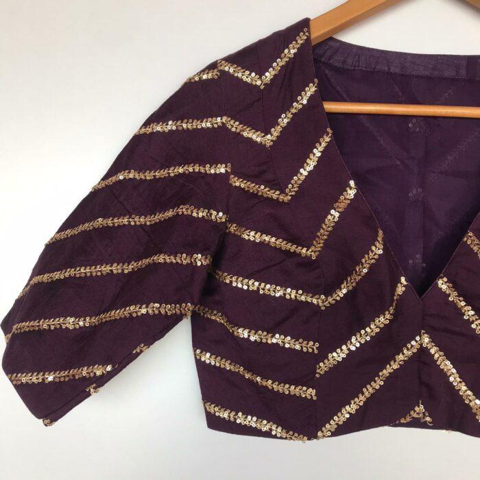 Dark Purple Raw Silk Blouse