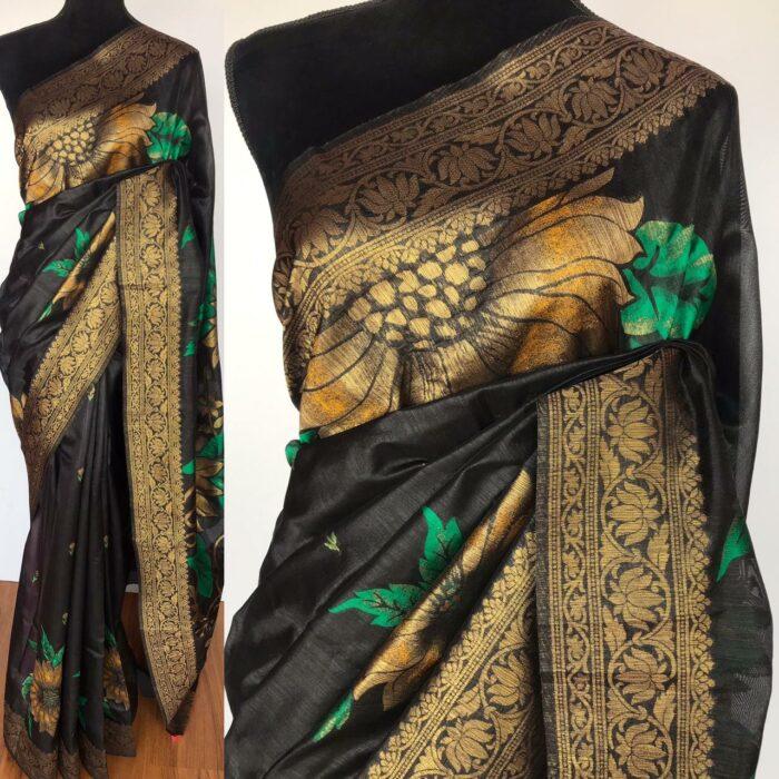 Black Banarasi Silk Saree with Beautiful Floral Zari Weaves