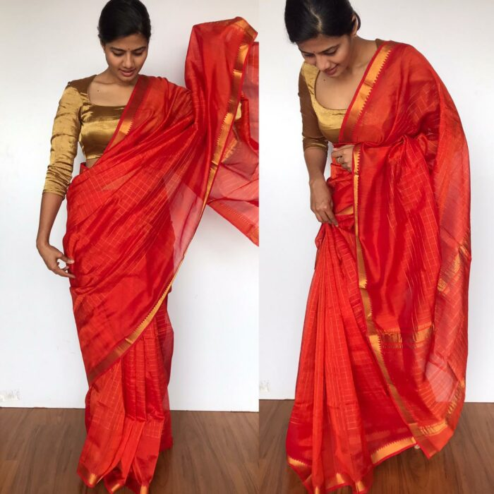 Orange Mangalagiri Silk Saree with Gold Zari Checks