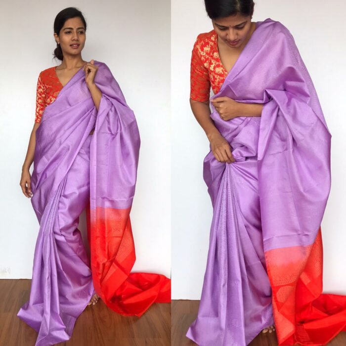 Lilac Kanjivaram Silk Saree with Handwoven Silver zari brocade weaves