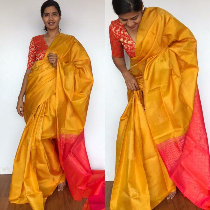 Mustard Kanjivaram Silk Saree with Handwoven Gold zari weaves